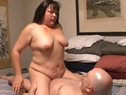 Flabby thai squeezes her big ass into g-string